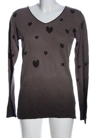 Boysen's Strickshirt braun-schwarz Motivdruck Casual-Look