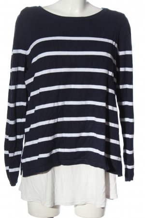 bpc bonprix collection Coarse Knitted Sweater blue-white striped pattern