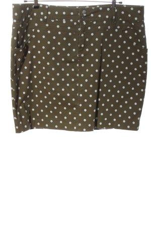 bpc bonprix collection Jeansowa spódnica brąz-biały Wzór w kropki