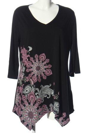 bpc bonprix collection Blusa a tunica nero-rosa motivo floreale stile casual