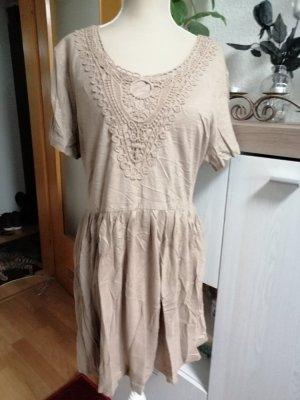 bpc Damen Kleid mit Spitze kurz cappucino Gr. 44/46 NEU