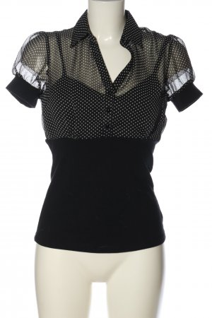 bpc Kurzarm-Bluse schwarz-weiß Punktemuster Casual-Look