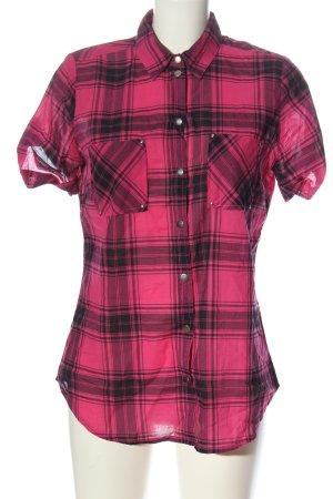 bpc Koszula z krótkim rękawem różowy-czarny Wzór w kratkę W stylu casual