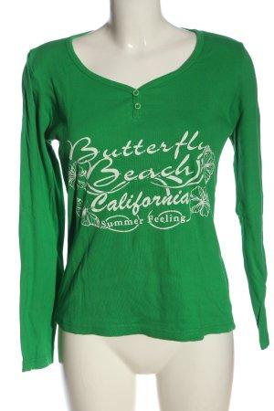 bpc Longsleeve green printed lettering casual look