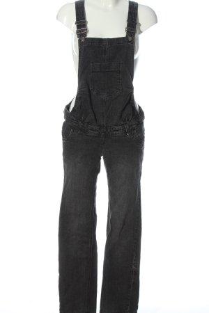 bpc Salopette en jeans noir moucheté style décontracté