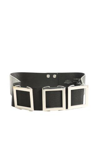 bpc Lederimitatgürtel schwarz-silberfarben Casual-Look
