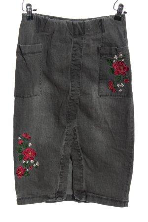 bpc Jupe mi-longue gris clair-rouge motif de fleur style décontracté