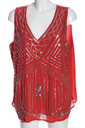 bpc selection Blusa sin mangas rojo-color plata elegante