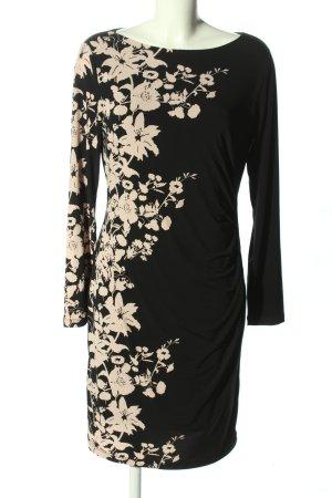 BPC Selection Premium Sukienka z długim rękawem czarny-kremowy Wzór w kwiaty