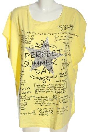 bpc selection Print-Shirt blassgelb Schriftzug gedruckt Casual-Look