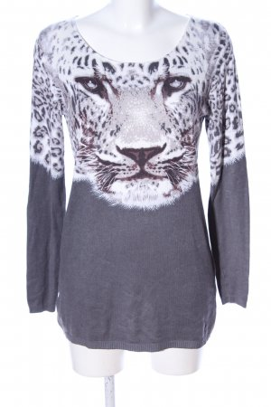 bpc selection Strickpullover hellgrau-weiß Animalmuster Casual-Look