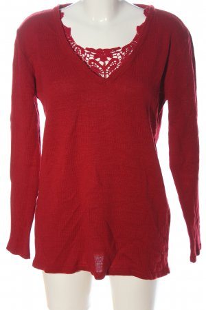 bpc selection V-Neck Sweater red cable stitch casual look
