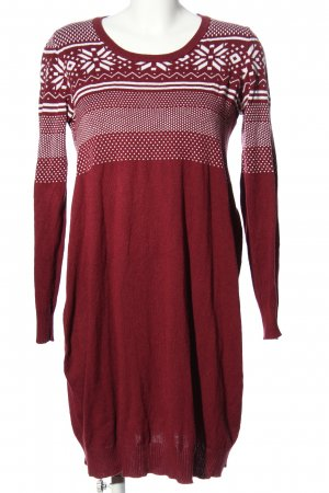 bpc Strickkleid rot-weiß grafisches Muster Casual-Look