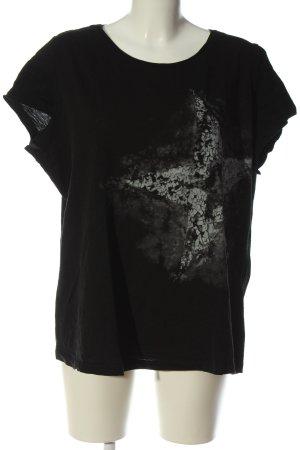 bpc Gebreid shirt zwart-lichtgrijs prints met een thema casual uitstraling