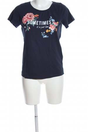 bpc T-shirt bleu foncé imprimé avec thème style décontracté