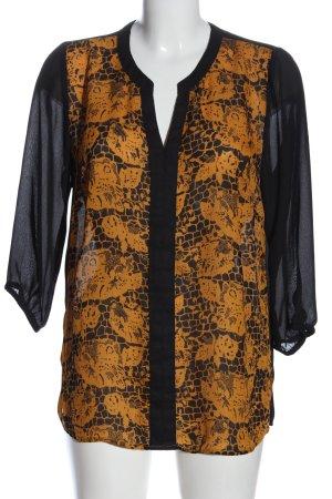 bpc Transparenz-Bluse schwarz-hellorange abstraktes Muster Casual-Look