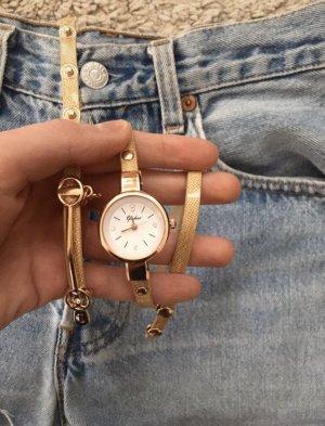 Horloge met lederen riempje goud-room