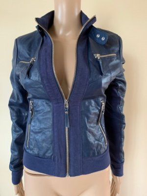 Arma Women Leather Jacket dark blue