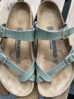 Birkenstock Sandalias cómodas verde grisáceo tejido mezclado