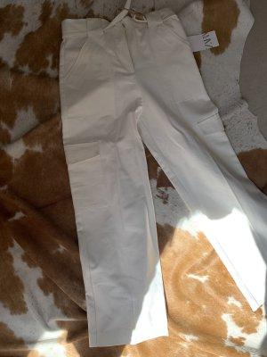 Zara Pantalon taille haute blanc coton