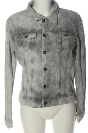 Brandalism Veste en jean gris clair motif abstrait style décontracté
