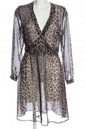 Brandalism Longsleeve Dress brown-cream allover print casual look