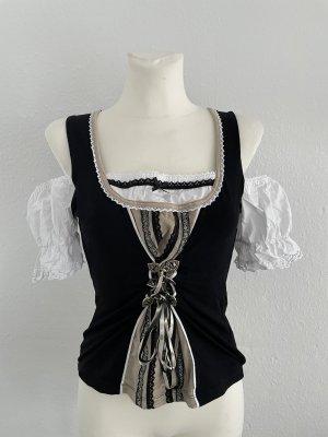 Brandl Tracht Carmen blouse zwart-wit