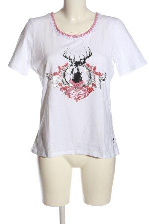 Brandl Tracht Koszulka z nadrukiem biały-czerwony Wzór w kratkę