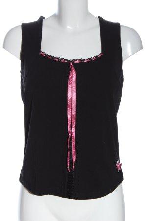 Brandl Tracht Trachtenbluse schwarz-pink klassischer Stil