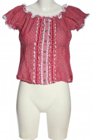 Brandl Tracht Tradycyjna bluzka różowy-biały Na całej powierzchni