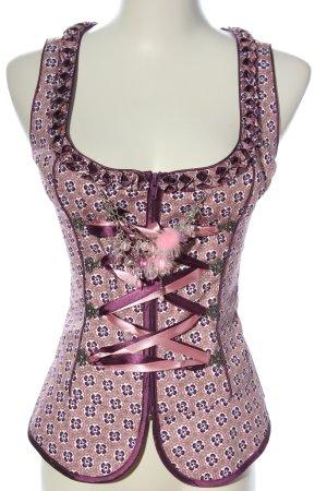 Brandl Tracht Trachtenweste pink-schwarz Blumenmuster klassischer Stil