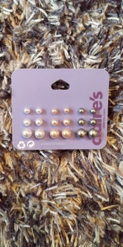 Claires Pearl Earring multicolored