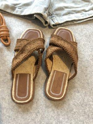 Pantoufles-chaussette bronze