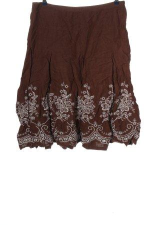brandtex Jupe mi-longue brun-blanc motif de fleur style décontracté