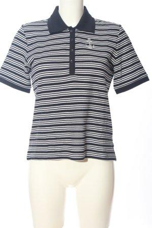 brandtex Koszulka polo czarny-biały Wzór w paski W stylu casual