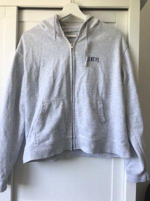 Brandy & Melville Sweat Jacket light grey-dark blue