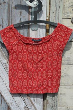 Brandy & Melville Camicia cropped marrone chiaro-rosso scuro