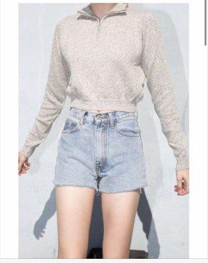 Brandy Melville crop sweater Reißverschluss grau