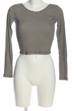 Brandy & Melville Cropped Shirt black-white striped pattern casual look