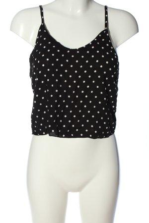 Brandy & Melville Top corto nero-bianco motivo a pallini stile casual