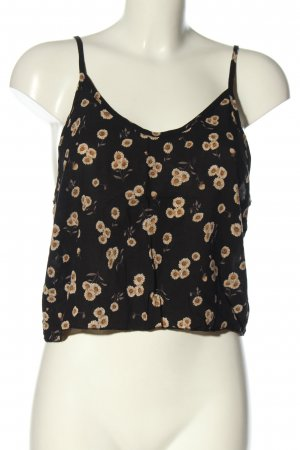 Brandy & Melville Top corto nero-crema stampa integrale stile casual