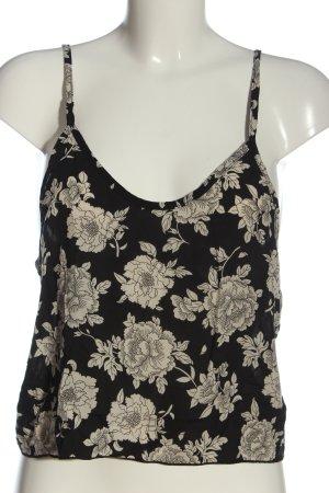 Brandy & Melville Top corto nero-crema motivo floreale stile casual