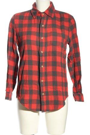 Brandy & Melville Camisa de franela rojo-azul estampado a cuadros look casual