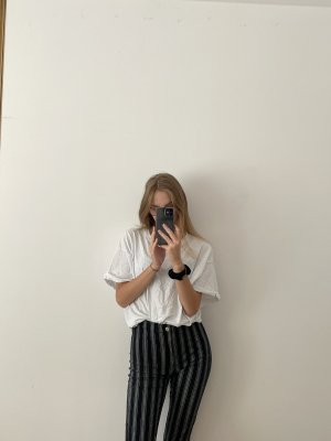 Brandy & Melville Pantalone a vita alta bianco-blu scuro