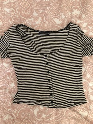 Brandy & Melville Cropped Shirt black-white