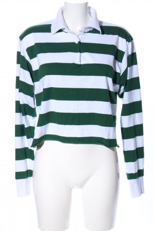 Brandy & Melville Polo Shirt green-white striped pattern casual look