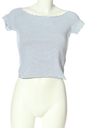 Brandy & Melville Maglietta a righe bianco-blu motivo a righe stile casual