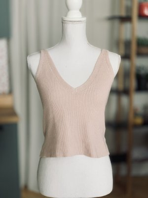 Brandy Melville Strick Top Shirt Altrosa Rosa 34 XS