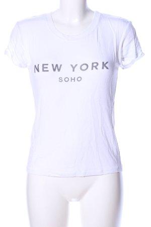Brandy & Melville T-shirt bianco caratteri stampati stile casual