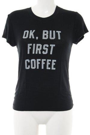 Brandy & Melville T-Shirt schwarz-weiß Schriftzug gedruckt Casual-Look